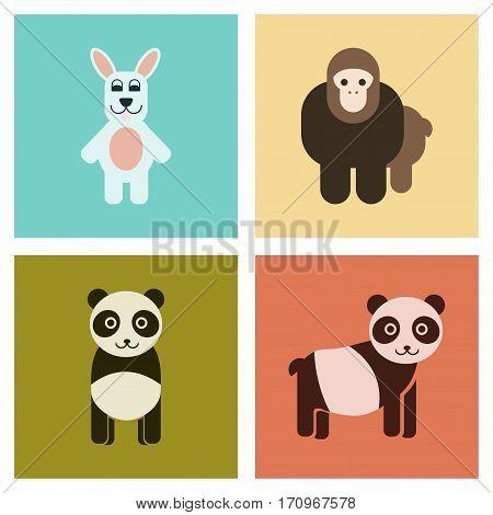 assembly of flat icons nature Panda monkey rabbit