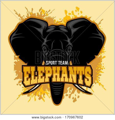 Elephants - sport club team symbol. Safari hunt badge of yellow, elephant tusk. Vector sign for africa hunting sport