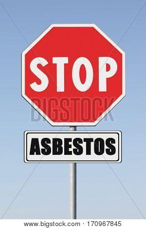 Stop asbestos concept. Stop Asbeston written on signpost