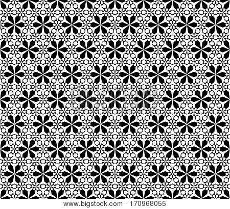 Vector monochrome seamless pattern, simple black & white ornamental texture, stylish floral geometric background, lattice. Abstract repeat backdrop. Design for decoration, prints, textile, furniture, fabric, cloth