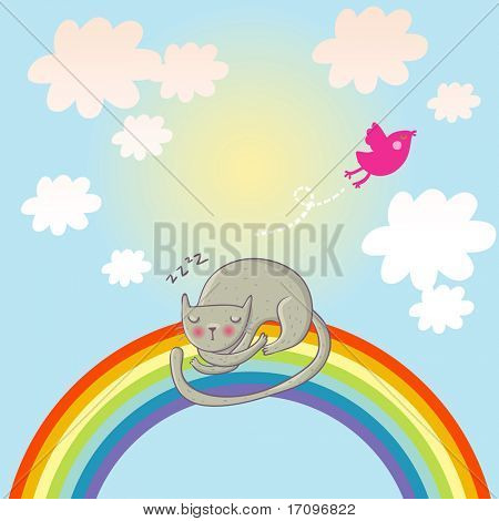 Cat sleeping on the rainbow