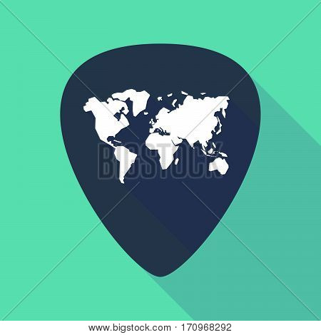 Long Shadow Guitar Pick With A World Map