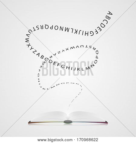 Book with letters. Education concept. Vector illustration