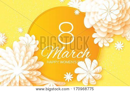 Yellow Paper Cut Flower. 8 March. Women's Day Greeting card. Origami Floral bouquet. Circle frame. Space for text on yellow background. Happy Mother's Day. Vector Spring illustration
