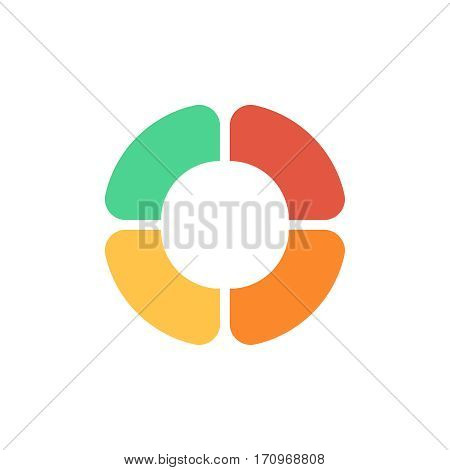 Flat pie chart element in modern style for web design or mobile app.Vector color illustration for presentations, reports, etc. Round diagram flat icon. Original logo on white background.