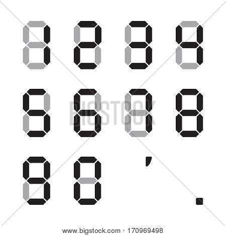 Flat number set. Digital number vector illustration. Collection of black symbols on white background. Color number for web design. Isolated vector icon set.