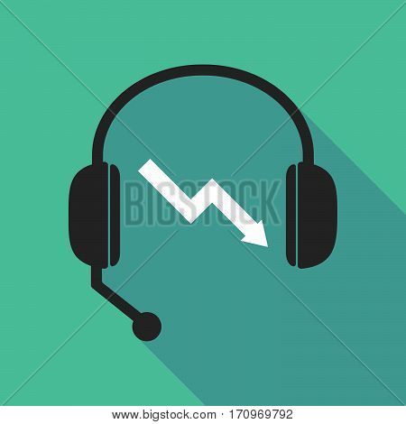Long Shadow Headphones With A Descending Graph