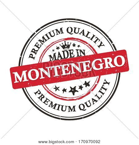Made in Montenegro, Premium Quality grunge printable label / stamp / sticker. CMYK colors used.