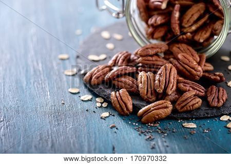 Pecan nuts healthy vegan snack, vitamin vegetarian food