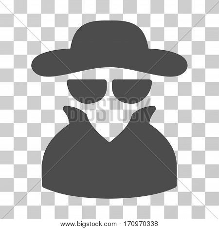 Spy icon. Vector illustration style is flat iconic symbol gray color transparent background. Designed for web and software interfaces.