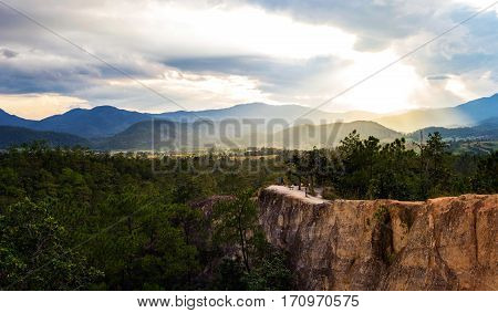 Pai Canyon At Mae Hong Son Province. Sunset. Panorama