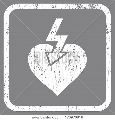 Heart Shock Strike rubber watermark. Vector icon symbol inside rounded rectangle with grunge design and dirty texture. Stamp seal illustration. Unclean white ink sign on a gray background.