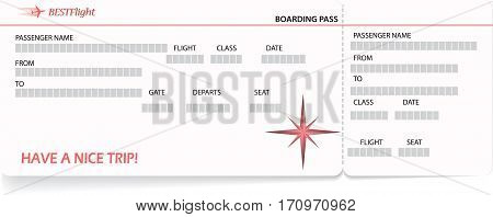 Red vector pattern of a boarding pass ticket. Concept of trip or travel