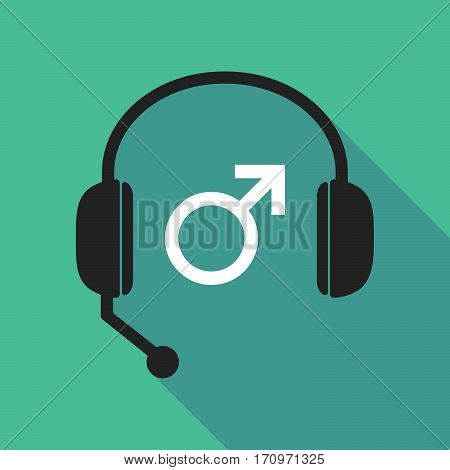 Long Shadow Headphones With A Male Sign