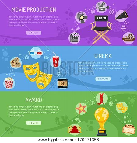 Cinema and Movie horizontal banners with flat icons camera, director chair, theater masks, award, popcorn, vector illustration