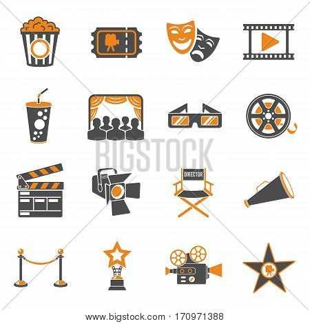 Cinema and Movie two color Icons Set with popcorn, award, clapperboard, tickets and 3D glasses. Isolated vector illustration