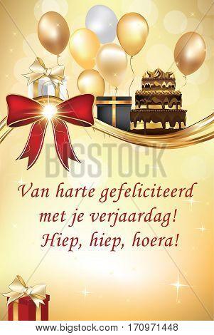 Dutch Happy Birthday greeting card (Congratulations on your birthday! - Van harte gefeliciteerd met je verjaardag) - printable standard card. Print colors (cmyk) used.