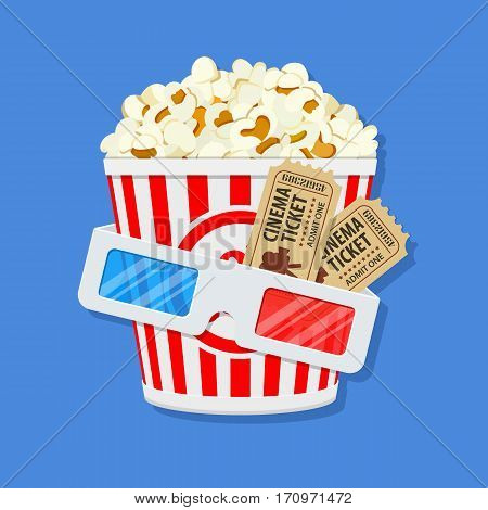 Cinema and Movie time concept with flat icons popcorn, 3D glasses and tickets, isolated vector illustration