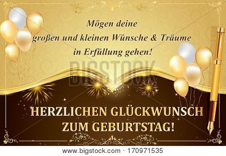 German Birthday greeting card with balloons and gold frame: May all your Dreams and Wishes come true! Happy Birthday! Print colors used. Standard size of a postcard