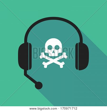 Long Shadow Headphones With A Skull