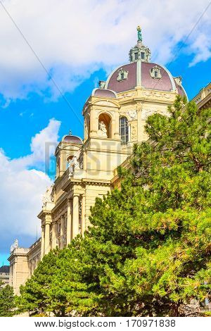 Close up view of Naturhistorisches Museum, Natural History Museum and pine trees in Vienna, Austria