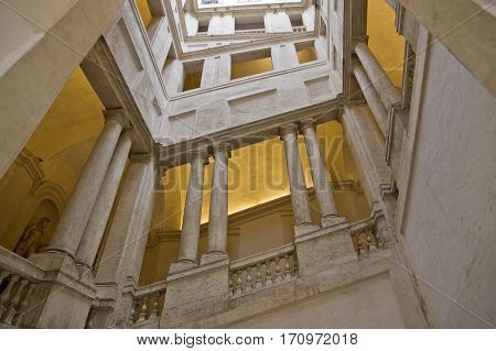 ROME ITALY - FEBRUARY 5 2017: baroque staircase by Bernini in the Palazzo Barberini