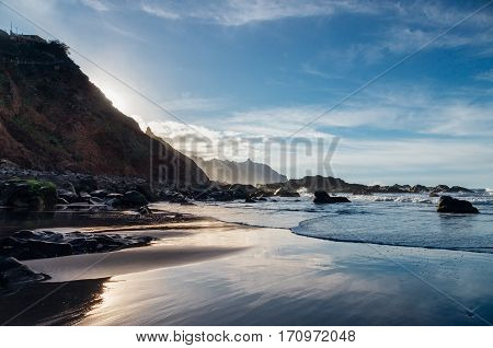 Benijo beach or Playa de Benijo against golden hour sunlight Tenerife island Spain