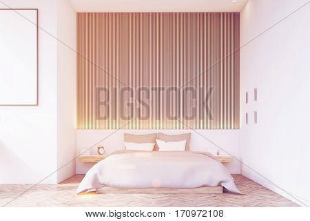 Front View Of Bedroom With Wooden Floor, Toned
