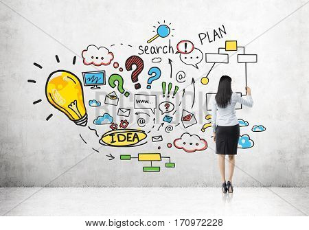 Woman Drawing Colorful Business Plan Sketch