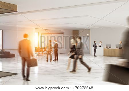 Business people rushing through an office hall with marble floor a reception counter a large whiteboard hanging in a conference room. 3d rendering. Toned image.