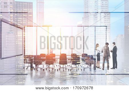 Rear view of three office employees having a conversation in a conference room with glass walls and panoramic windows. 3d rendering. Mock up. Toned image. Double exposure