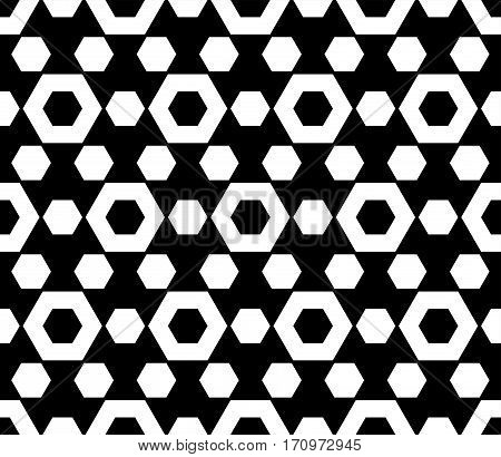 Vector monochrome seamless pattern. Simple dark geometric texture with hexagonal shapes. Repeat tiles. Black & white abstract background. Design for textile, fabric, clothes, furniture, decoration, digital, web