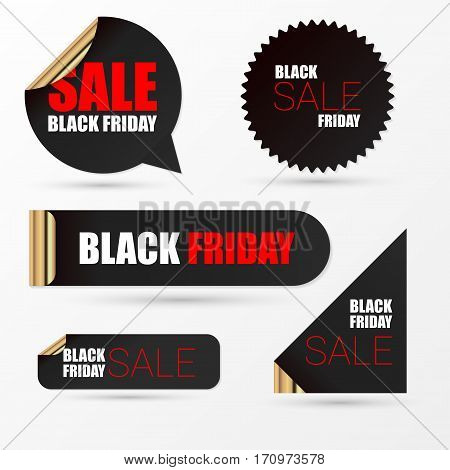 Realistic banners. Black friday sale. Vector illustration