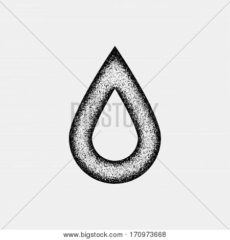 Black abstract drop badge, blank button template with film grain, noise, dotwork, grunge texture and black background for logo, design concepts, posters, banners, web and prints. Vector illustration