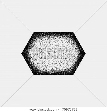 Black abstract geometric badge, polygon, hex shape with film grain, noise, dotwork, grunge texture and black background for logo, design concepts, posters, banners, web and prints. Vector illustration