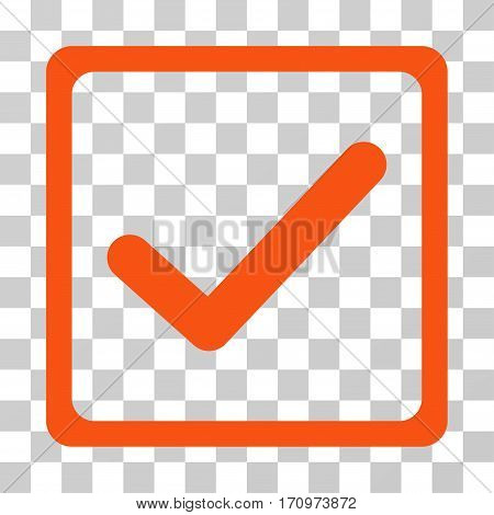 Checkbox icon. Vector illustration style is flat iconic symbol orange color transparent background. Designed for web and software interfaces.