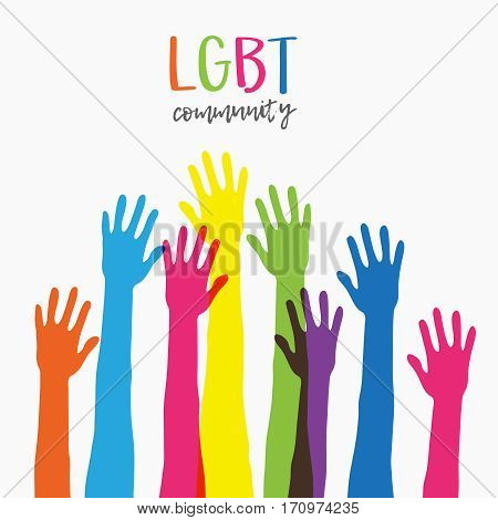 Lgbt community support.Fight for gay and lesbian rights, helping variety colored hands raised up, rainbow colors.Modern flat vector illustration stylish design element isolated on white background.