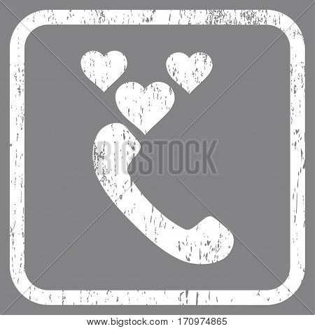 Love Phone Call rubber watermark. Vector pictogram symbol inside rounded rectangular frame with grunge design and dirty texture. Stamp seal illustration. Unclean white ink emblem on a gray background.
