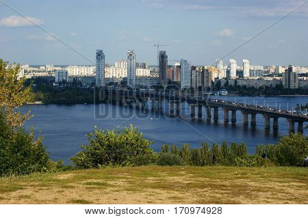 The left bank of the Dnieper river view from a high right bank of Kiev