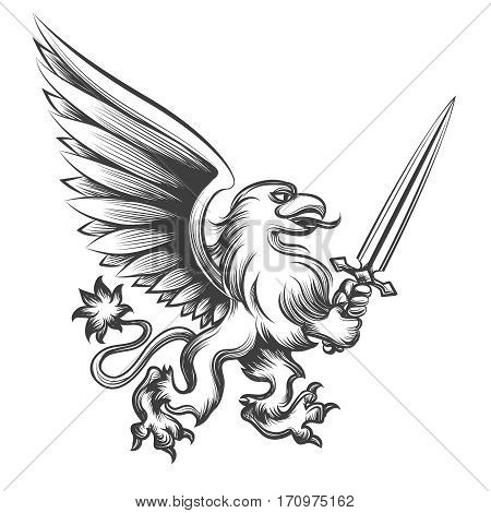 Engraving griffin with sword vector illustration. Hand drawn heraldry gryphon mythology beast for logo poster