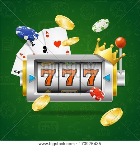 Casino Concept with Slot Machine, Playing Cards, Gold Coins and Poker Chips. Symbol of Games Fortune. Vector illustration