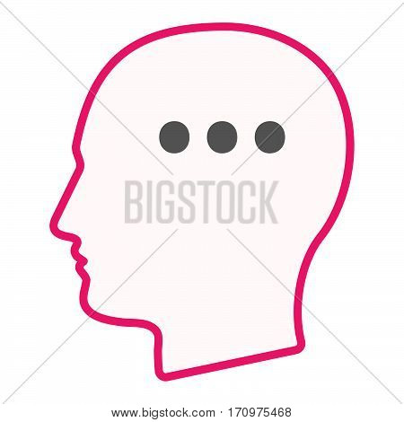 Isolated Male Head With  An Ellipsis Orthographic Sign