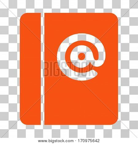 Emails icon. Vector illustration style is flat iconic symbol orange color transparent background. Designed for web and software interfaces.