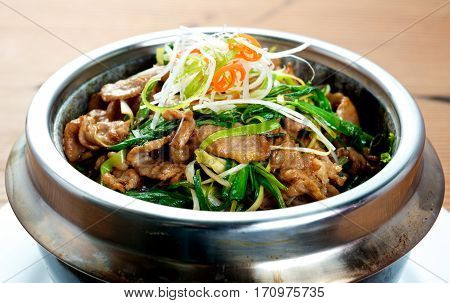 Chinese Spring Onion Beef stir fried food