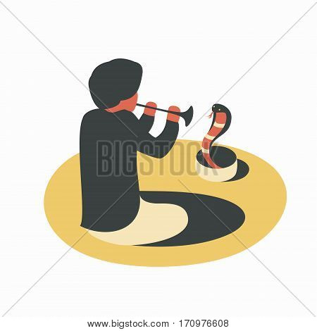 India, man playing the flute with snake cobra
