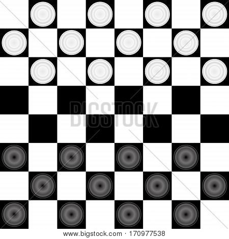Checkers board chess board.Black and white checkers game