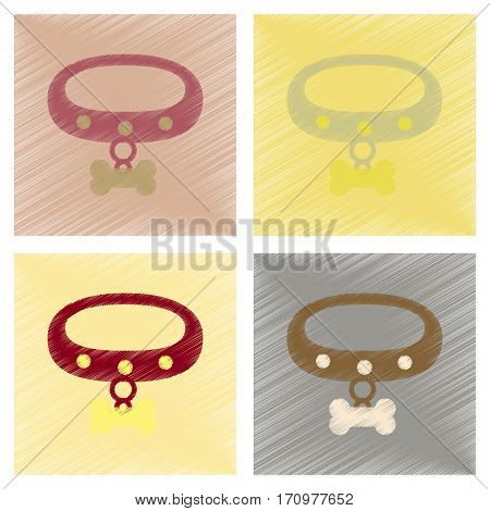 assembly flat shading style icons of dog collar