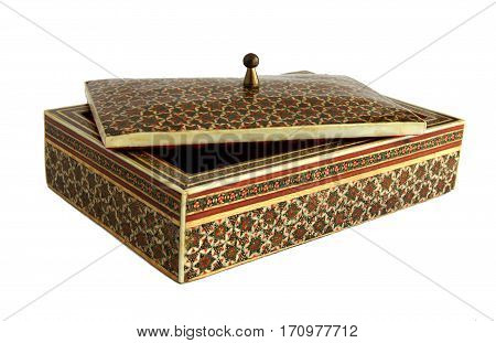 Beautiful casket or box in oriental style with decorated the surface in the traditional Iranian mosaic technics khatam