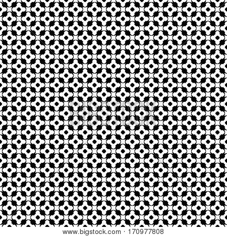 Vector monochrome seamless pattern, black & white repeat ornament texture, endless backdrop. Abstract mosaic background with simply geometric figures, flowers, cubes, circles. Modern design element for prints, decoration, textile, furniture, digital, web