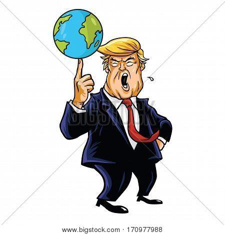 Donald Trump Cartoon Playing Globe. Vector Caricature Illustration Portrait. February 13, 2017